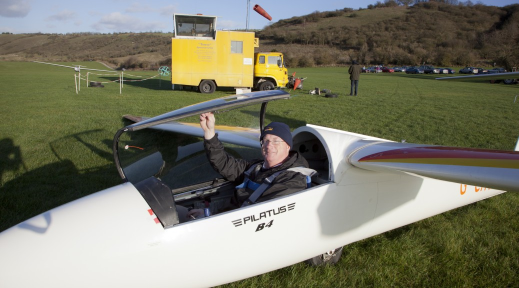 Getting ready for my first flight in the Pilatus B4 aerobatic glider - photos courtesy Adrian Hobbs.