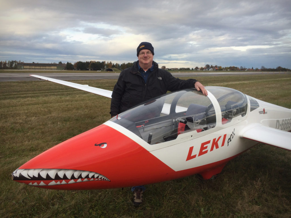 Right after my first flight in the MDM-1 Fox, a glider purpose-built for aerobic competition. It's at the top of the class!